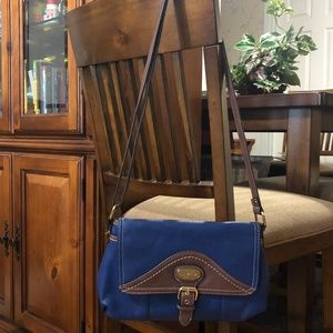 b.o.c handbag purse Cross-body Blue & Brown.